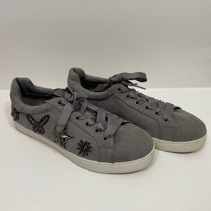 Libby Edelman Jeweled Chunky Sole Grey Sneakers